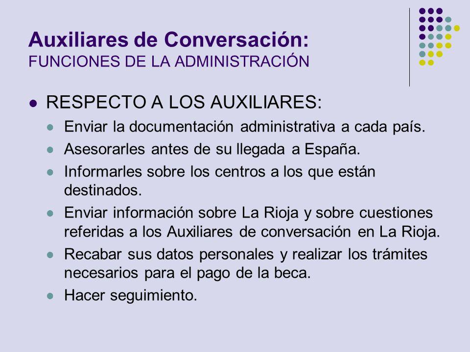 Auxiliares de Conversación: FUNCIONES DE LA ADMINISTRACIÓN RESPECTO A LOS AUXILIARES: Enviar la documentación administrativa a cada país. Asesorarles