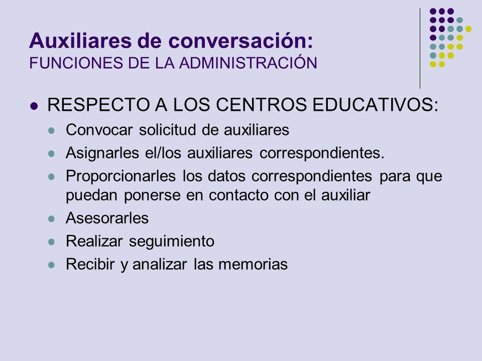 Auxiliares de conversación: FUNCIONES DE LA ADMINISTRACIÓN RESPECTO A LOS CENTROS EDUCATIVOS: Convocar solicitud de auxiliares Asignarles el/los auxil