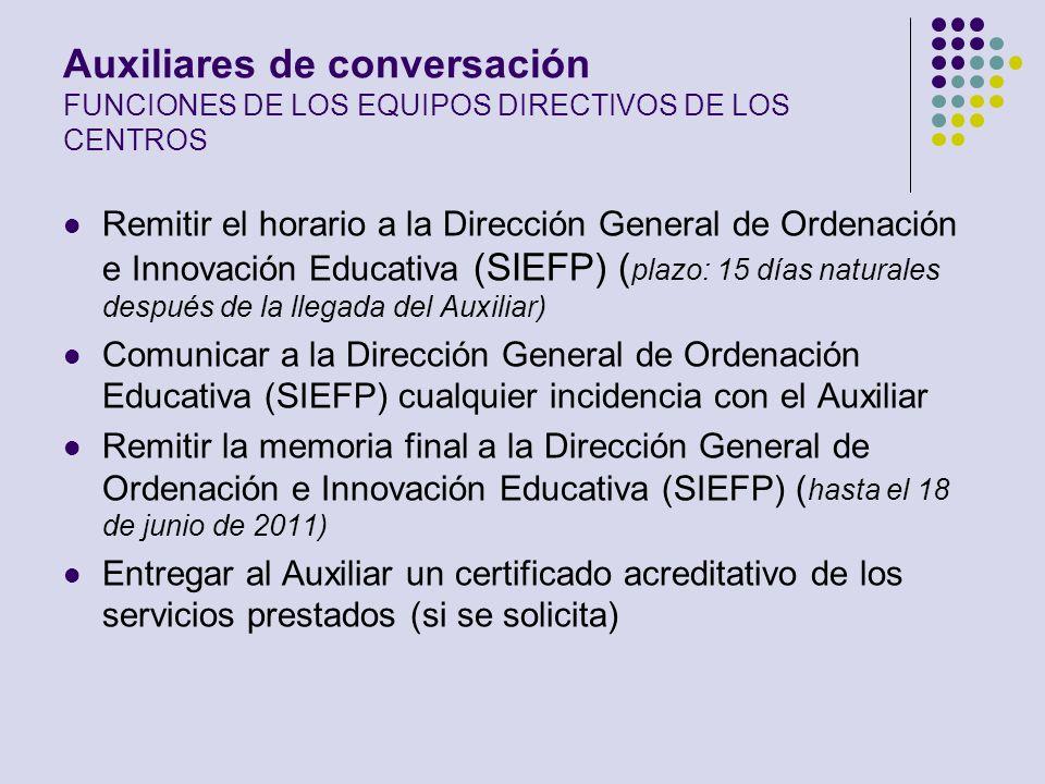 Auxiliares de conversación FUNCIONES DE LOS EQUIPOS DIRECTIVOS DE LOS CENTROS Remitir el horario a la Dirección General de Ordenación e Innovación Edu