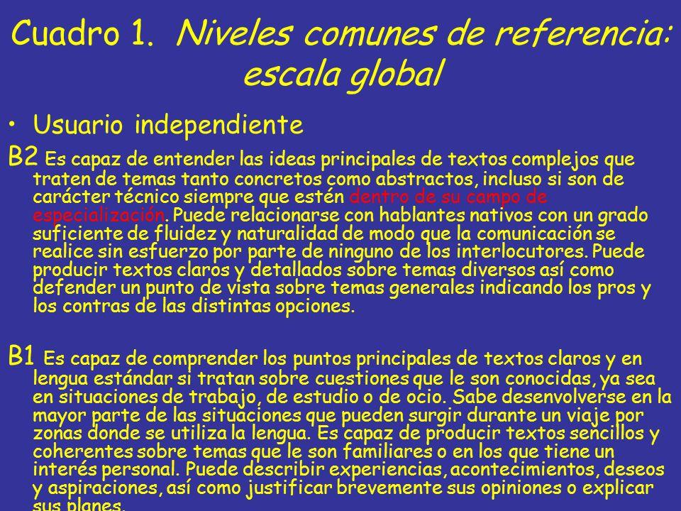 Cuadro 1. Niveles comunes de referencia: escala global Usuario independiente B2 Es capaz de entender las ideas principales de textos complejos que tra