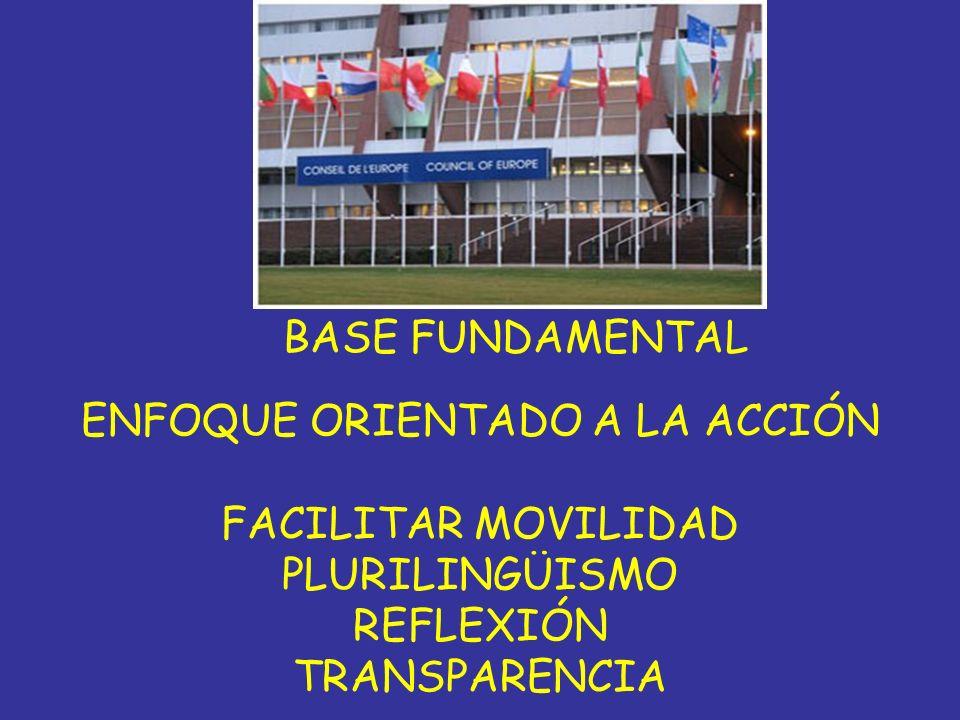 BASE FUNDAMENTAL ENFOQUE ORIENTADO A LA ACCIÓN FACILITAR MOVILIDAD PLURILINGÜISMO REFLEXIÓN TRANSPARENCIA