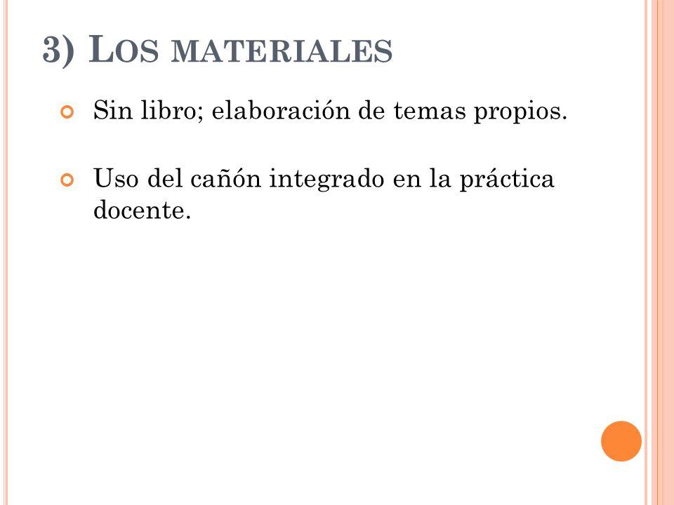 3) L OS MATERIALES Sin libro; elaboración de temas propios. Uso del cañón integrado en la práctica docente.