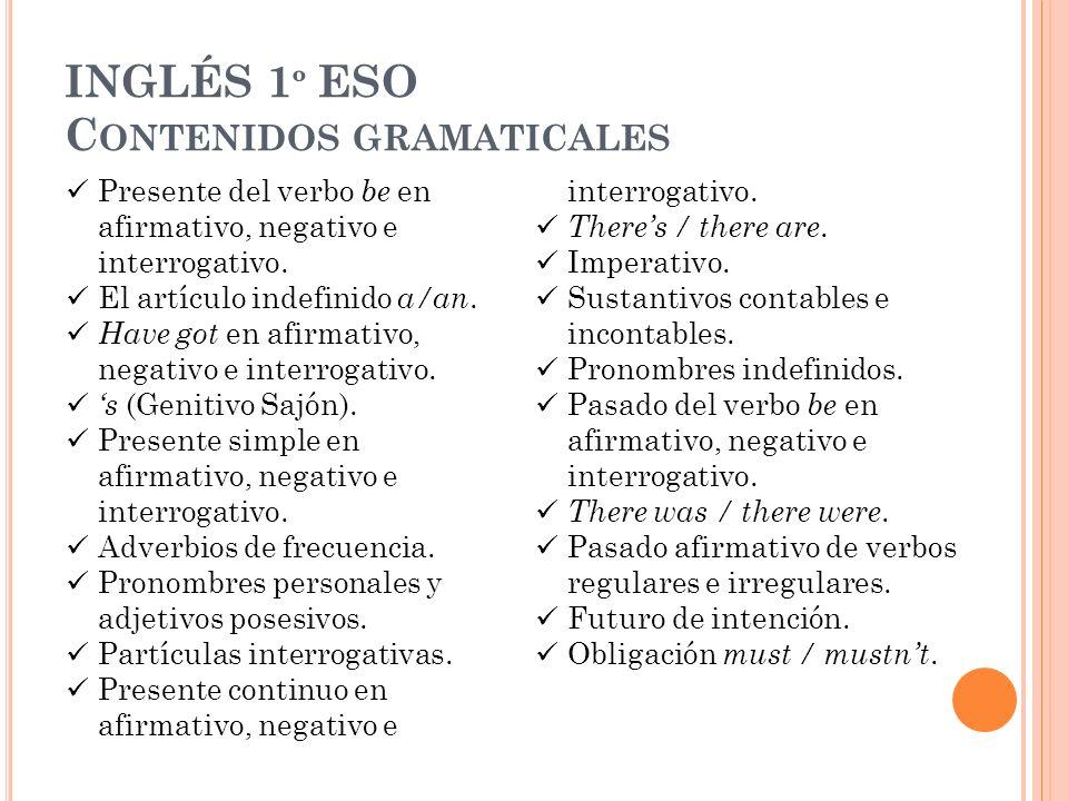 INGLÉS 1 º ESO C ONTENIDOS GRAMATICALES Presente del verbo be en afirmativo, negativo e interrogativo. El artículo indefinido a/an. Have got en afirma
