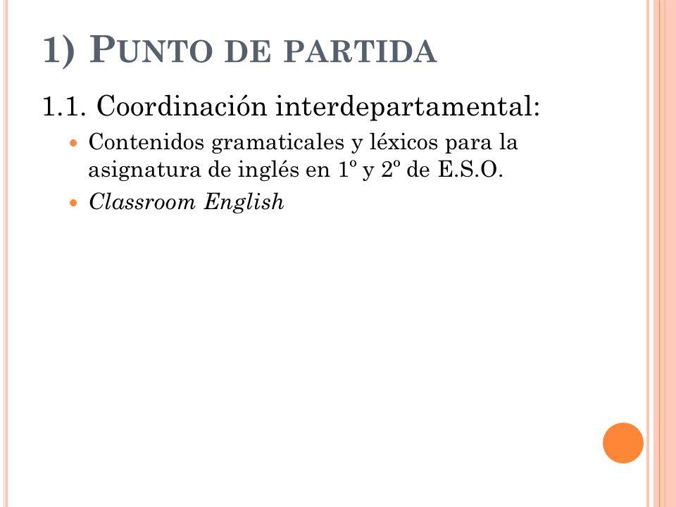 1) P UNTO DE PARTIDA 1.1. Coordinación interdepartamental: Contenidos gramaticales y léxicos para la asignatura de inglés en 1º y 2º de E.S.O. Classro