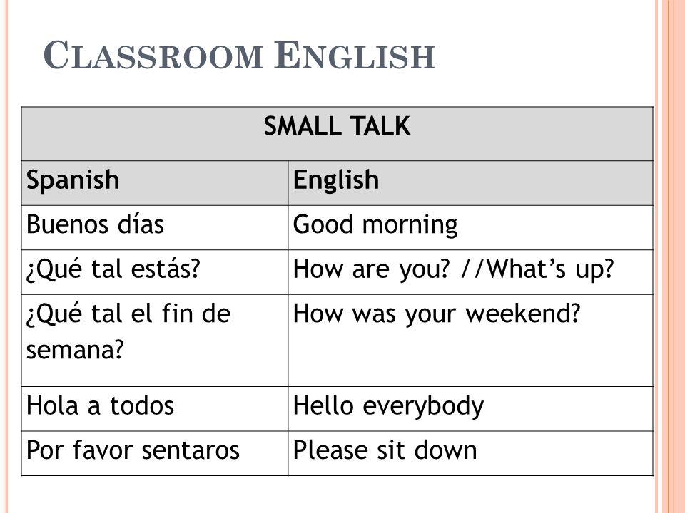 C LASSROOM E NGLISH SMALL TALK SpanishEnglish Buenos díasGood morning ¿Qué tal estás?How are you? //Whats up? ¿Qué tal el fin de semana? How was your