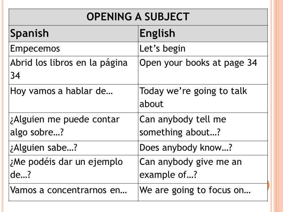 OPENING A SUBJECT SpanishEnglish EmpecemosLets begin Abrid los libros en la página 34 Open your books at page 34 Hoy vamos a hablar de… Today were goi