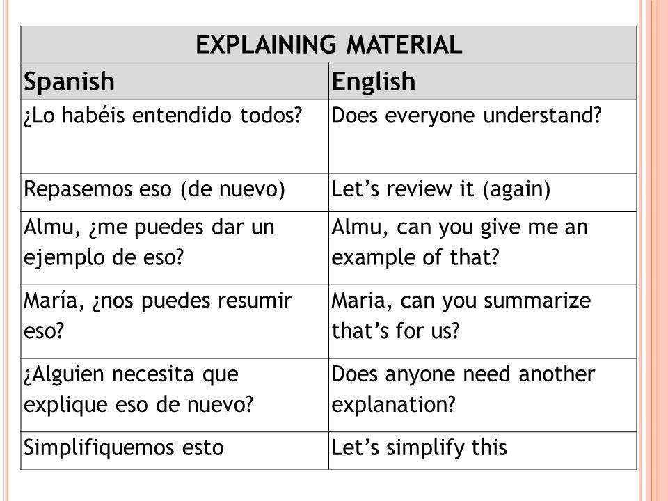 EXPLAINING MATERIAL SpanishEnglish ¿Lo habéis entendido todos?Does everyone understand? Repasemos eso (de nuevo)Lets review it (again) Almu, ¿me puede
