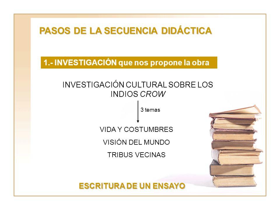 PASOS DE LA SECUENCIA DIDÁCTICA 1.- INVESTIGACIÓN que nos propone la obra INVESTIGACIÓN CULTURAL SOBRE LOS INDIOS CROW VIDA Y COSTUMBRES VISIÓN DEL MUNDO TRIBUS VECINAS 3 temas ESCRITURA DE UN ENSAYO