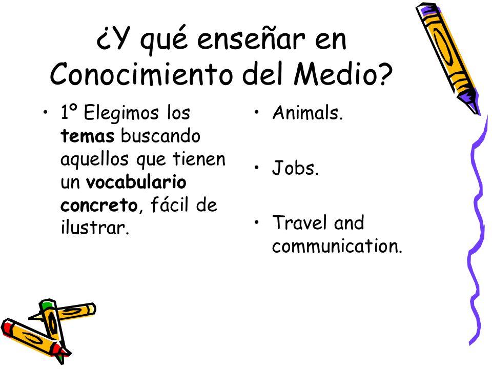 ¿Y qué enseñar en Conocimiento del Medio? 1º Elegimos los temas buscando aquellos que tienen un vocabulario concreto, fácil de ilustrar. Animals. Jobs
