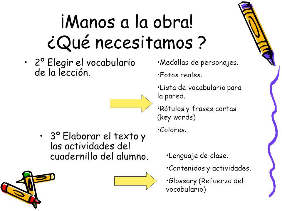 ¡Manos a la obra! ¿Qué necesitamos ? 2º Elegir el vocabulario de la lección. 3º Elaborar el texto y las actividades del cuadernillo del alumno. Medall