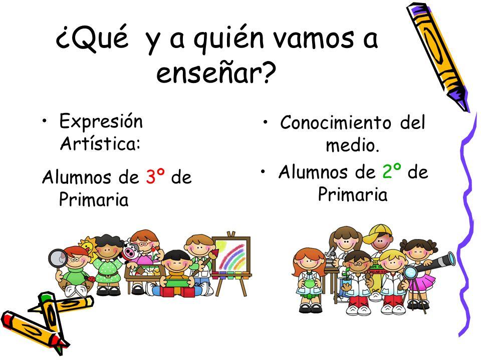 ¿Qué y a quién vamos a enseñar? Expresión Artística: Alumnos de 3º de Primaria Conocimiento del medio. Alumnos de 2º de Primaria