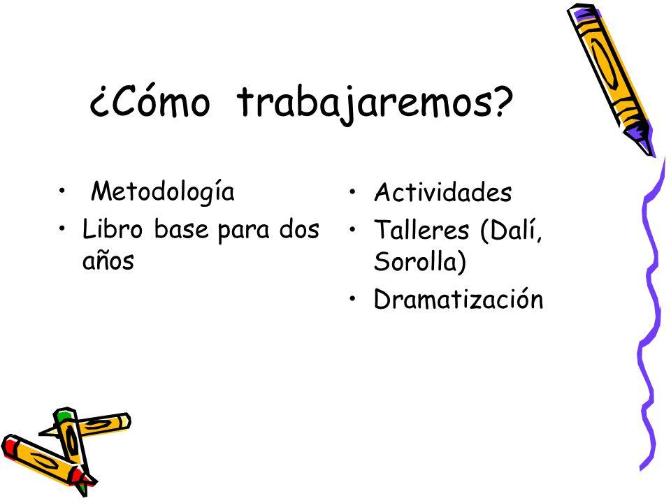 ¿Cómo trabajaremos? Metodología Libro base para dos años Actividades Talleres (Dalí, Sorolla) Dramatización