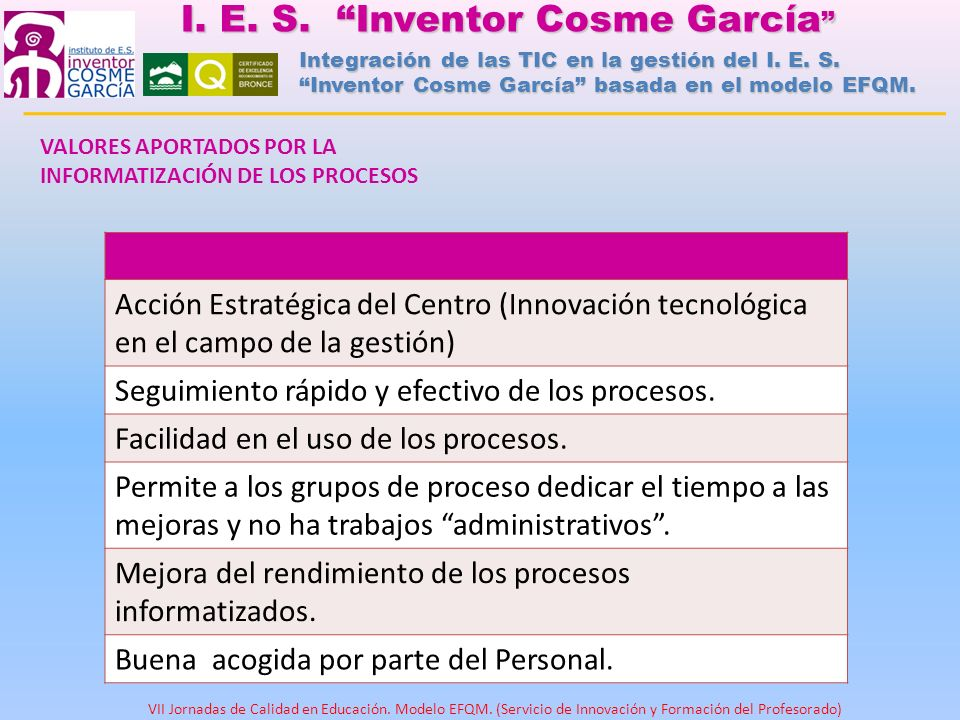 Acción Estratégica del Centro (Innovación tecnológica en el campo de la gestión) Seguimiento rápido y efectivo de los procesos. Facilidad en el uso de