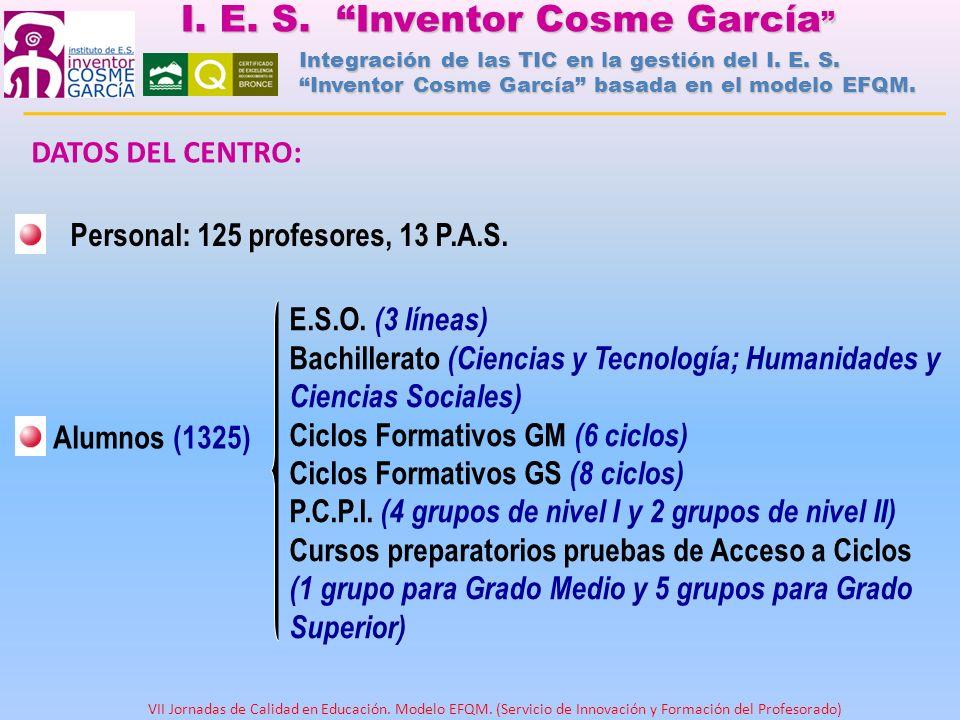 DATOS DEL CENTRO: Personal: 125 profesores, 13 P.A.S. Alumnos (1325) E.S.O. (3 líneas) Bachillerato (Ciencias y Tecnología; Humanidades y Ciencias Soc