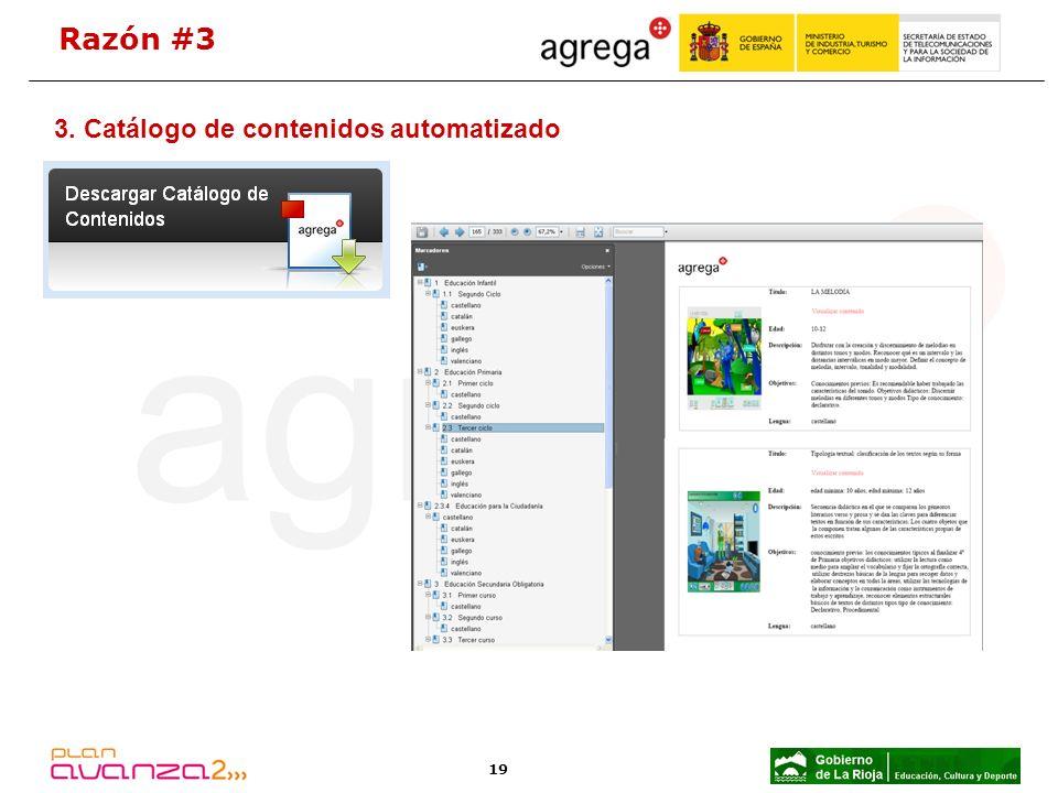 19 3. Catálogo de contenidos automatizado Razón #3
