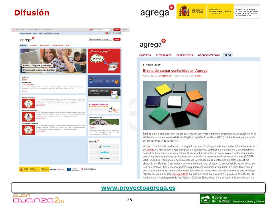 35 www.proyectoagrega.es Difusión