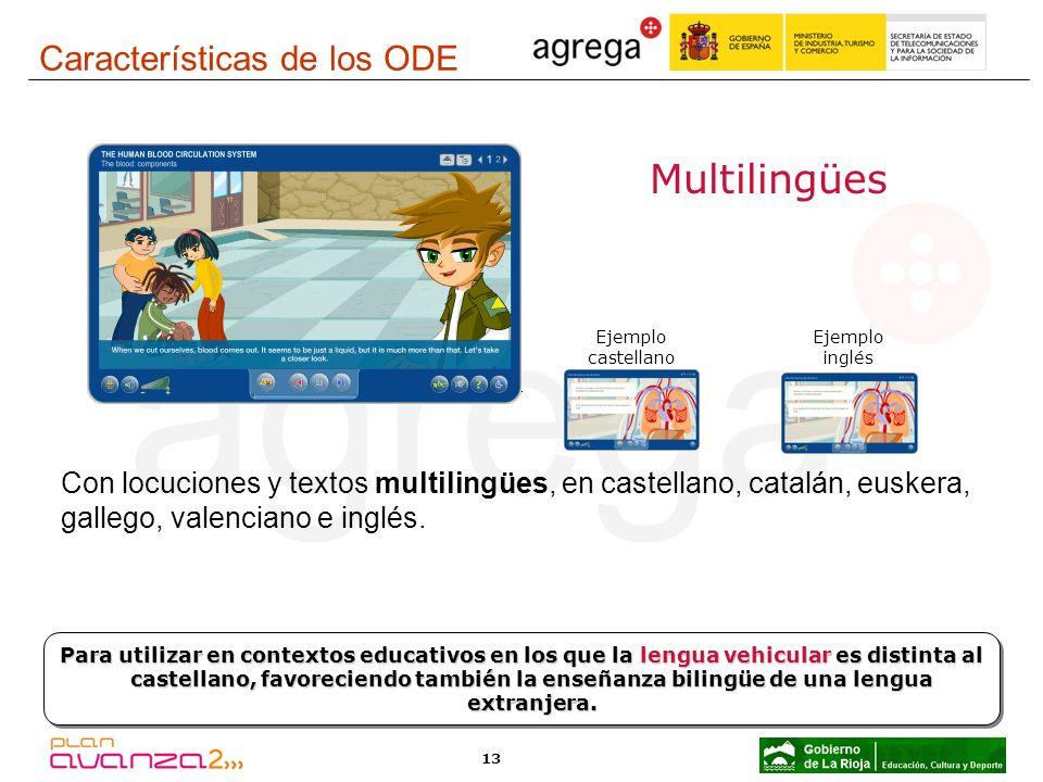 13 Multilingües Con locuciones y textos multilingües, en castellano, catalán, euskera, gallego, valenciano e inglés. Para utilizar en contextos educat