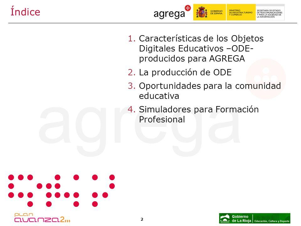 2 Índice 1.Características de los Objetos Digitales Educativos –ODE- producidos para AGREGA 2.La producción de ODE 3.Oportunidades para la comunidad e