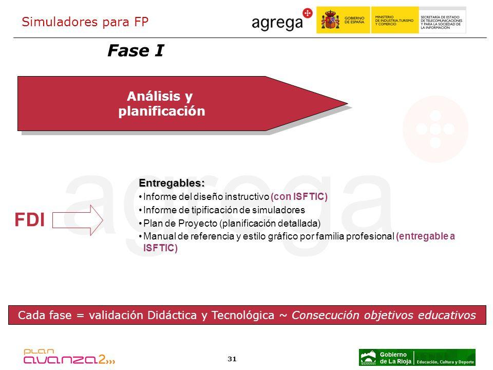 31 Análisis y planificación Análisis y planificación FDI Entregables: Informe del diseño instructivo (con ISFTIC) Informe de tipificación de simulador