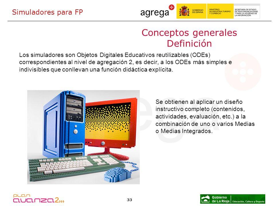 33 Conceptos generales Definición Los simuladores son Objetos Digitales Educativos reutilizables (ODEs) correspondientes al nivel de agregación 2, es