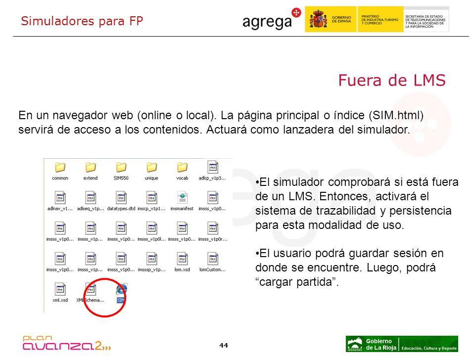 44 Fuera de LMS En un navegador web (online o local). La página principal o índice (SIM.html) servirá de acceso a los contenidos. Actuará como lanzade