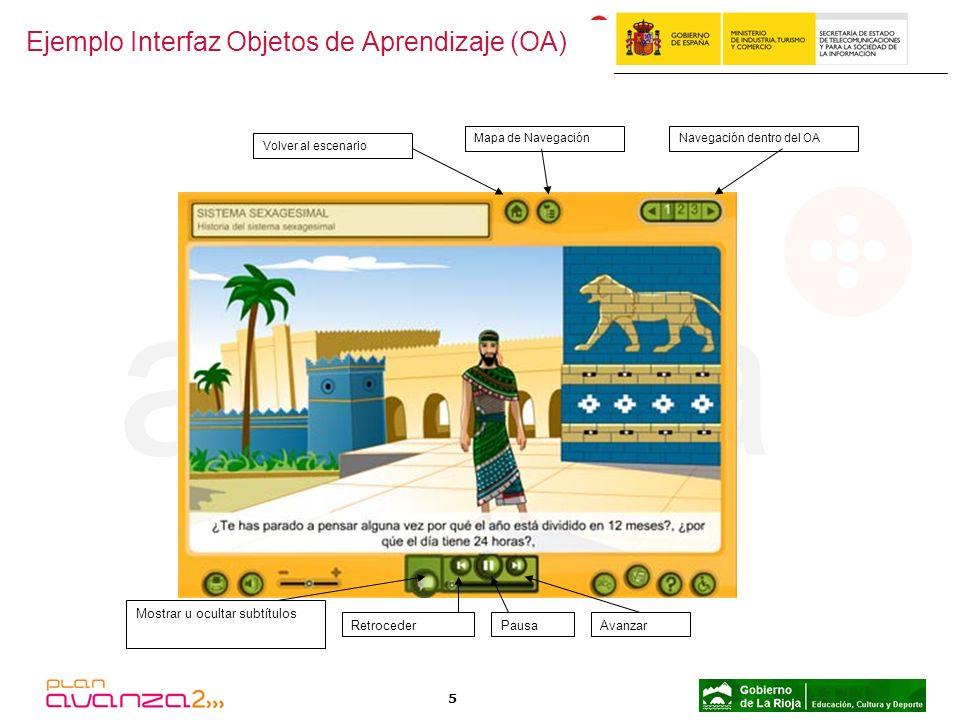 5 RetrocederPausaAvanzar Mostrar u ocultar subtítulos Ejemplo Interfaz Objetos de Aprendizaje (OA) Volver al escenario Mapa de NavegaciónNavegación de