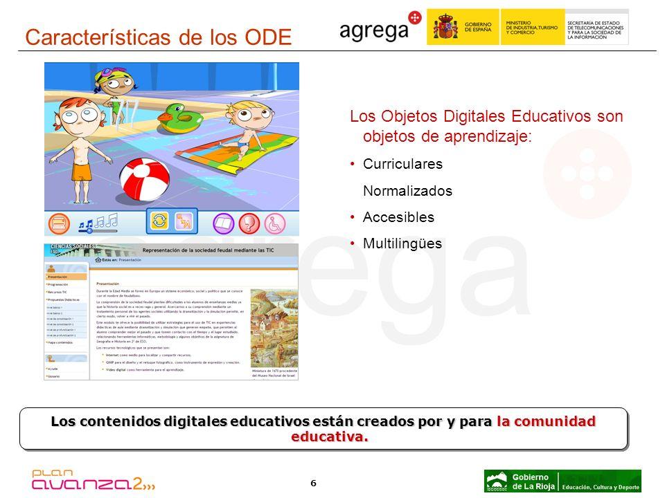 6 Los Objetos Digitales Educativos son objetos de aprendizaje: Curriculares Normalizados Accesibles Multilingües Los contenidos digitales educativos e
