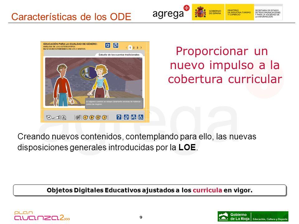 9 Objetos Digitales Educativos ajustados a los curricula en vigor. Proporcionar un nuevo impulso a la cobertura curricular Creando nuevos contenidos,