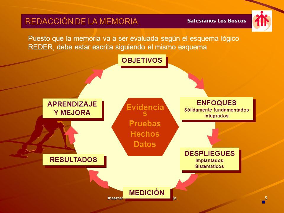 Insertar título o código del trabajo 4 REDACCIÓN DE LA MEMORIA Salesianos Los Boscos