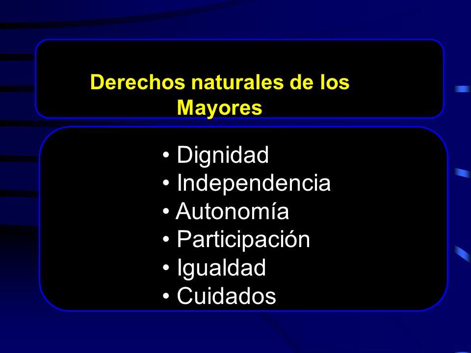 Dignidad Independencia Autonomía Participación Igualdad Cuidados Derechos naturales de los Mayores