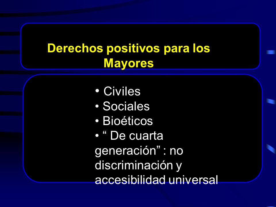 Civiles Sociales Bioéticos De cuarta generación : no discriminación y accesibilidad universal Derechos positivos para los Mayores