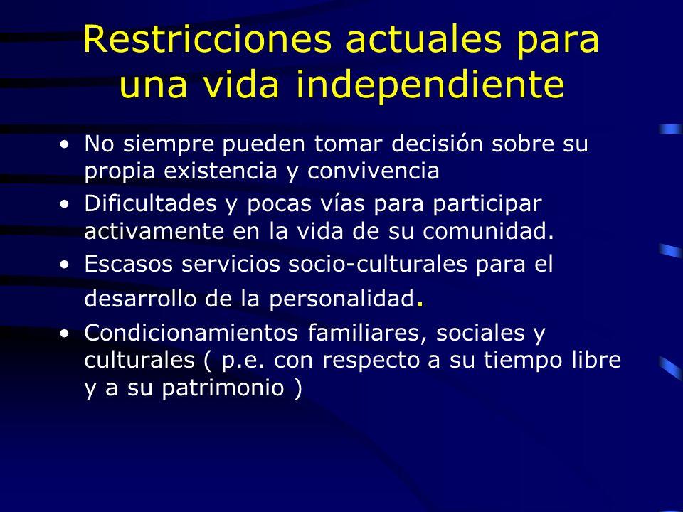 Restricciones actuales para una vida independiente No siempre pueden tomar decisión sobre su propia existencia y convivencia Dificultades y pocas vías para participar activamente en la vida de su comunidad.