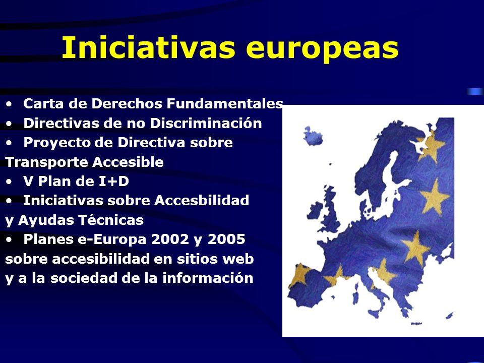 Iniciativas europeas Carta de Derechos Fundamentales Directivas de no Discriminación Proyecto de Directiva sobre Transporte Accesible V Plan de I+D Iniciativas sobre Accesbilidad y Ayudas Técnicas Planes e-Europa 2002 y 2005 sobre accesibilidad en sitios web y a la sociedad de la información