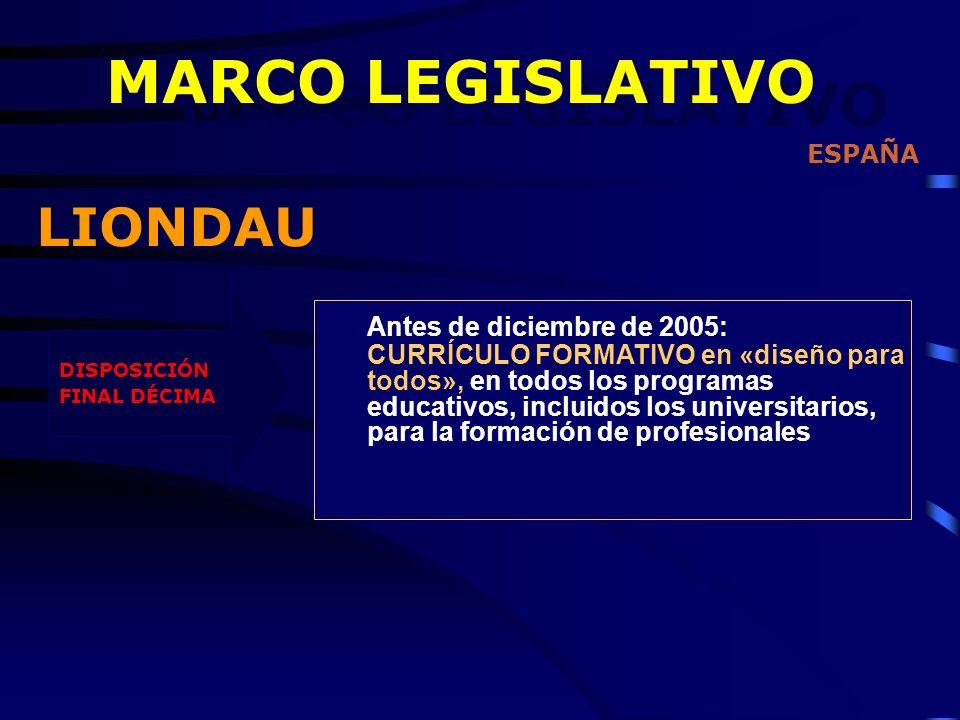 DISPOSICIÓN FINAL DÉCIMA Antes de diciembre de 2005: CURRÍCULO FORMATIVO en «diseño para todos», en todos los programas educativos, incluidos los universitarios, para la formación de profesionales ESPAÑA MARCO LEGISLATIVO LIONDAU MARCO LEGISLATIVO