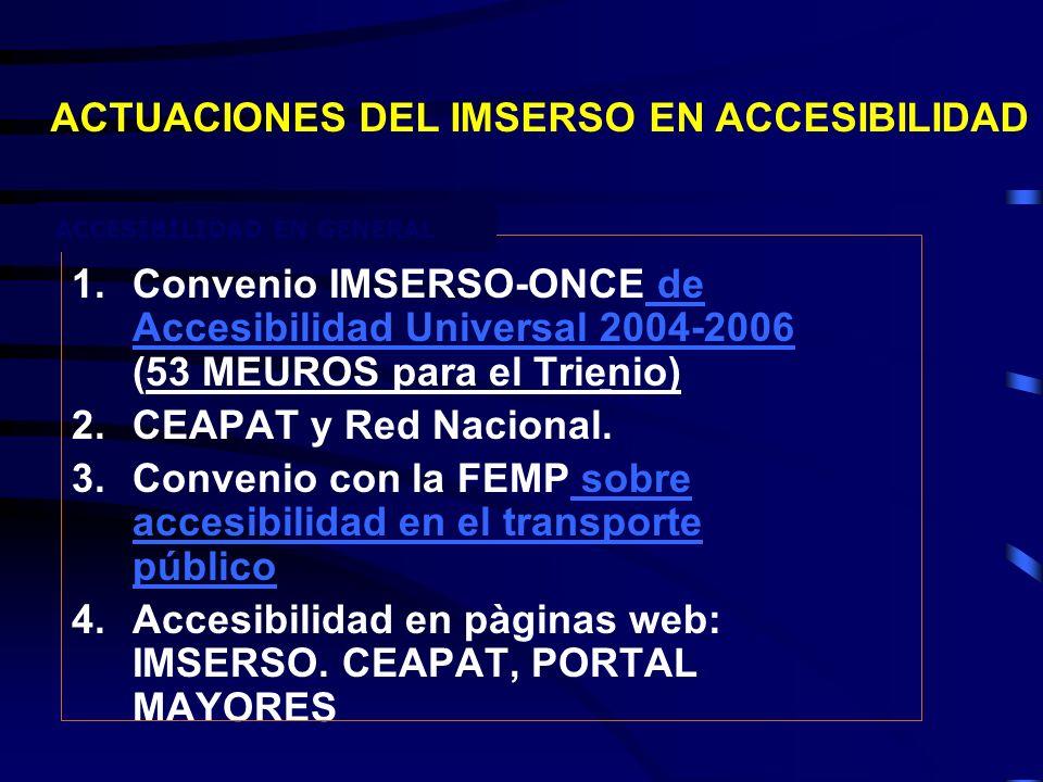 1.Convenio IMSERSO-ONCE de Accesibilidad Universal 2004-2006 (53 MEUROS para el Trienio) de Accesibilidad Universal 2004-2006 2.CEAPAT y Red Nacional.