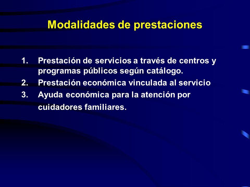 Modalidades de prestaciones 1.Prestación de servicios a través de centros y programas públicos según catálogo.