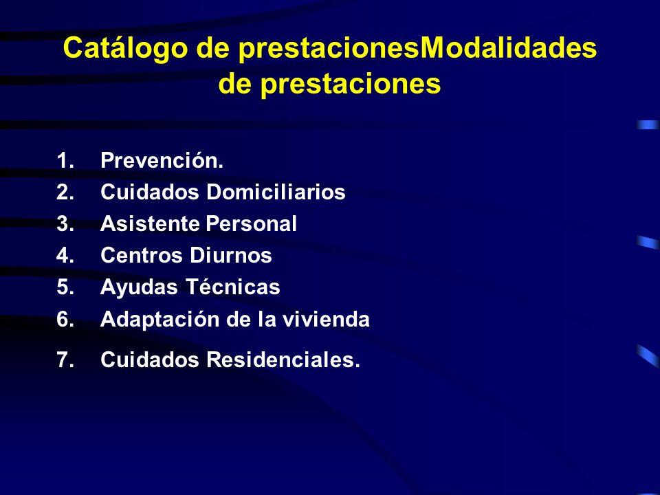 Catálogo de prestacionesModalidades de prestaciones 1.Prevención.