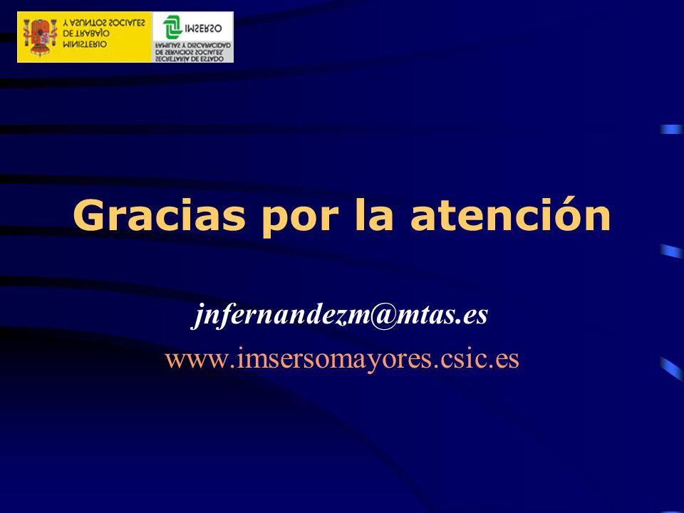 Gracias por la atención jnfernandezm@mtas.es www.imsersomayores.csic.es