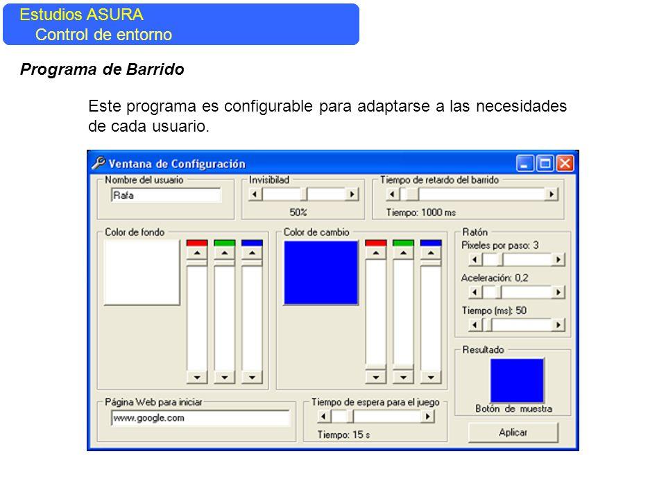 Estudios ASURA Control del entorno Estudios ASURA Control de entorno Programa de Barrido Este programa es configurable para adaptarse a las necesidade