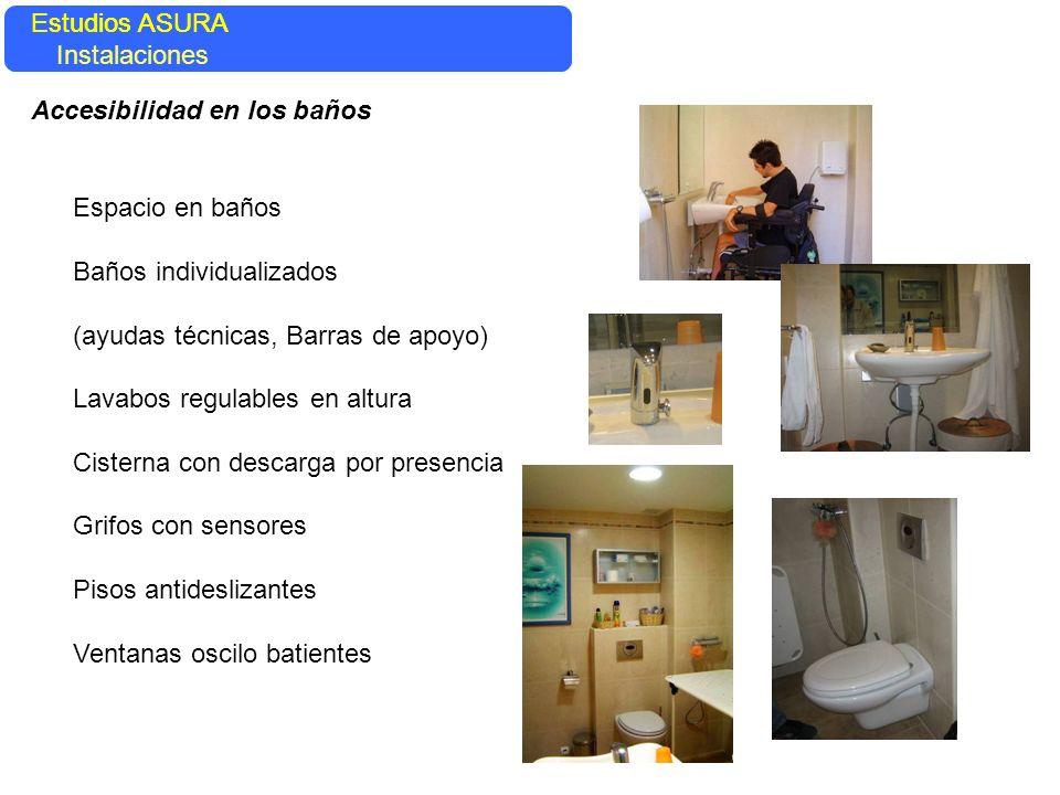 Espacio en baños Baños individualizados (ayudas técnicas, Barras de apoyo) Lavabos regulables en altura Cisterna con descarga por presencia Grifos con
