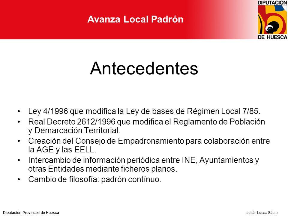 Avanza Local Padrón Julián Lucea Sáenz Antecedentes Ley 4/1996 que modifica la Ley de bases de Régimen Local 7/85.