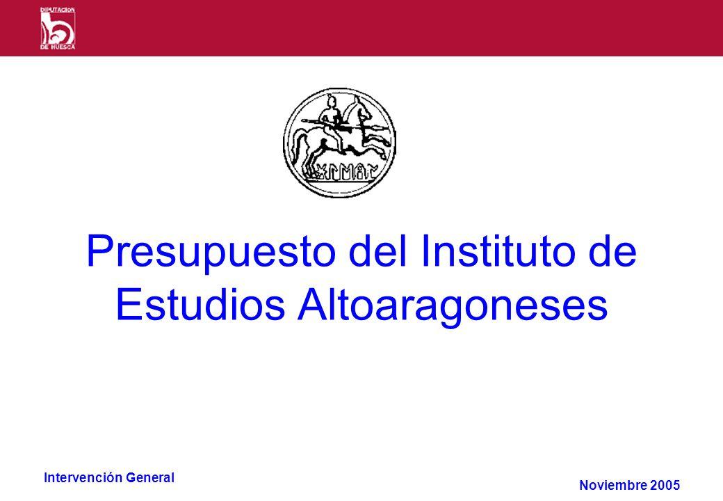 Intervención General Presupuesto del Instituto de Estudios Altoaragoneses Noviembre 2005