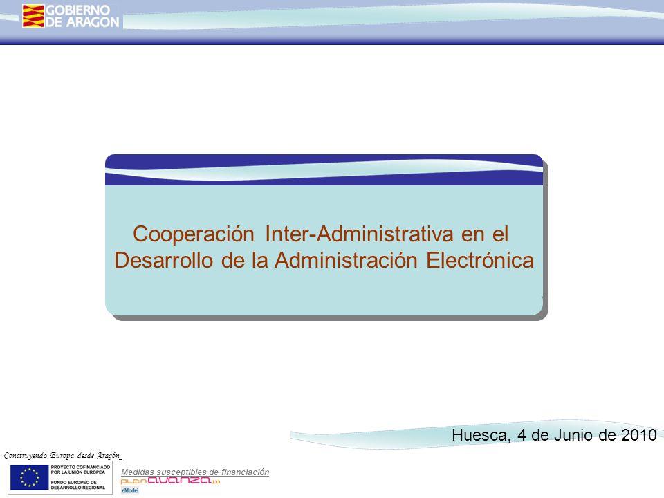 Medidas susceptibles de financiación Construyendo Europa desde Aragón Cooperación Inter-Administrativa en el Desarrollo de la Administración Electróni