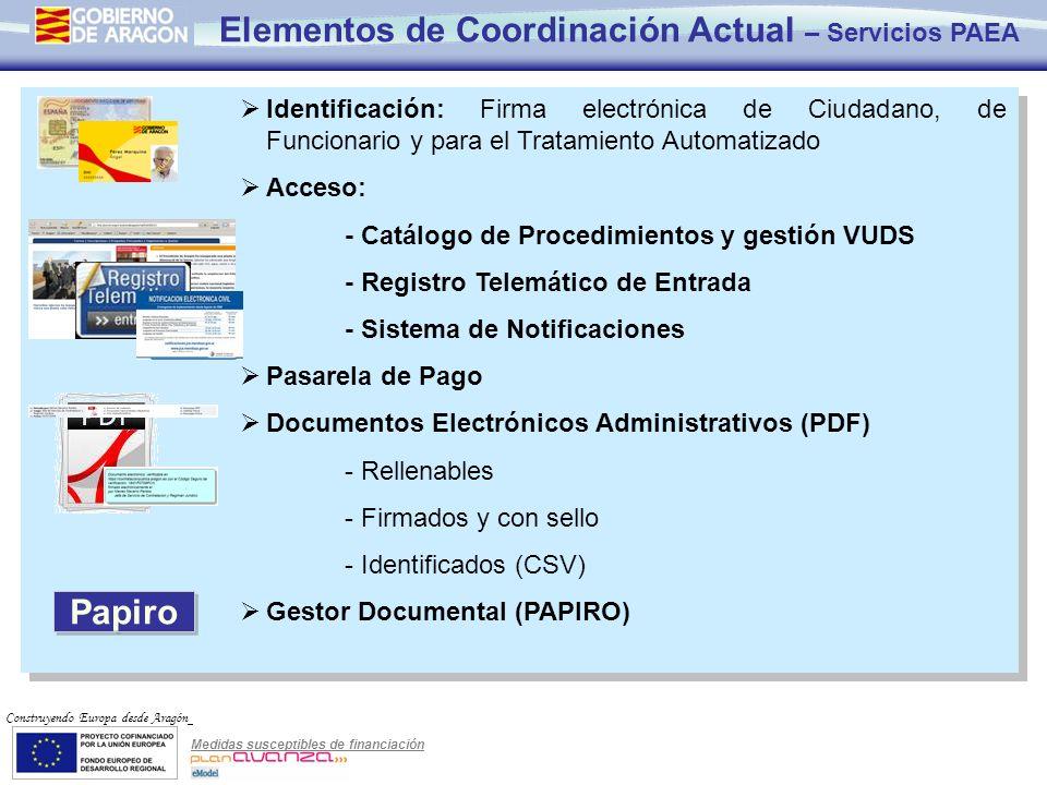 Medidas susceptibles de financiación Construyendo Europa desde Aragón Identificación: Firma electrónica de Ciudadano, de Funcionario y para el Tratami