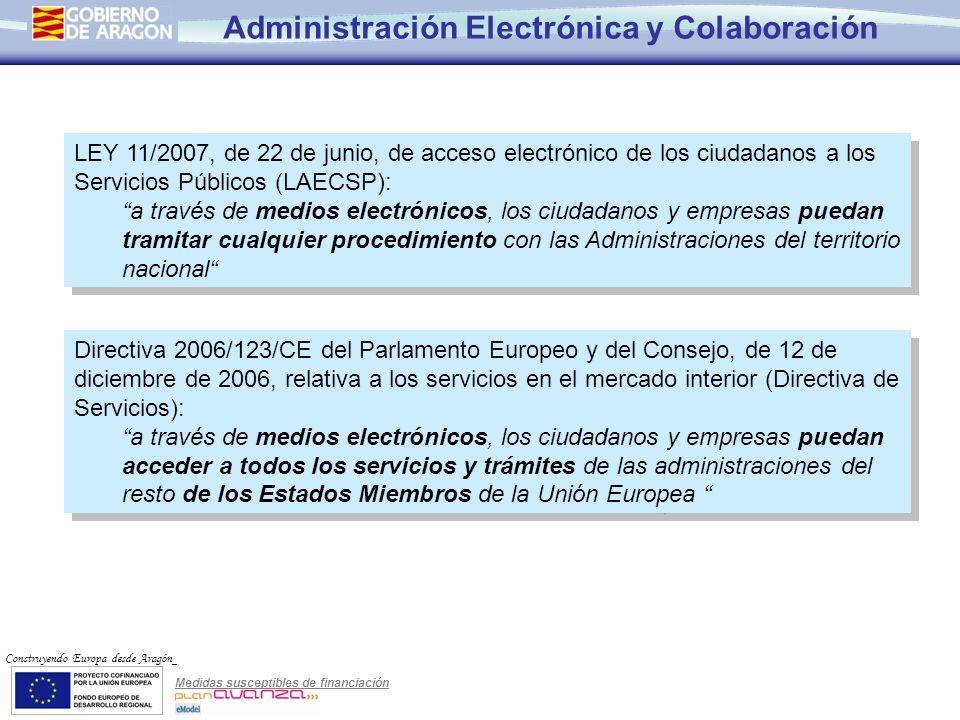 Medidas susceptibles de financiación Construyendo Europa desde Aragón Administración Electrónica y Colaboración Necesidad de Colaboración El objetivo final implica alcanzar el 100% de la actividad administrativa.