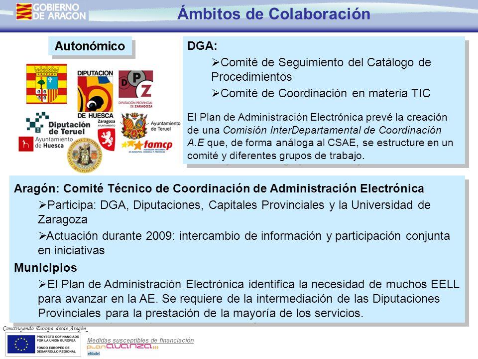Medidas susceptibles de financiación Construyendo Europa desde Aragón Ámbitos de Colaboración DGA: Comité de Seguimiento del Catálogo de Procedimiento