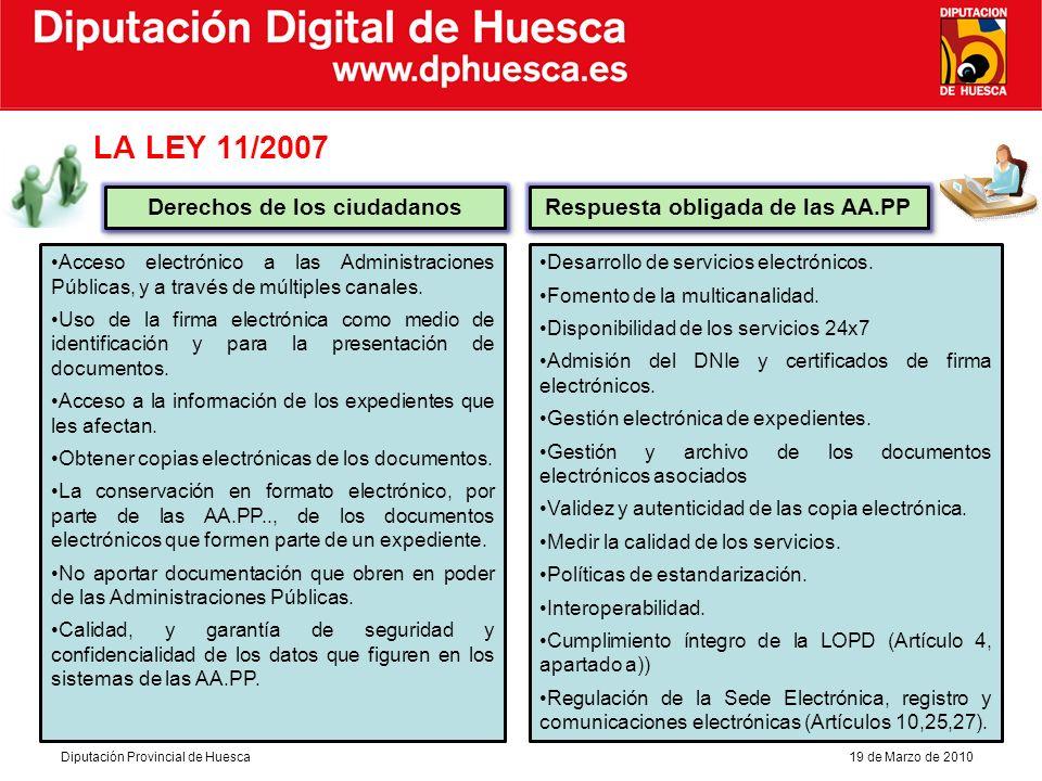 Diputación Digital de Huesca Diputación Provincial de Huesca19 de Marzo de 2010 Objetivos complementarios Servicios Valor añadido que permita mejorar la administración local y su relación con los ciudadanos.