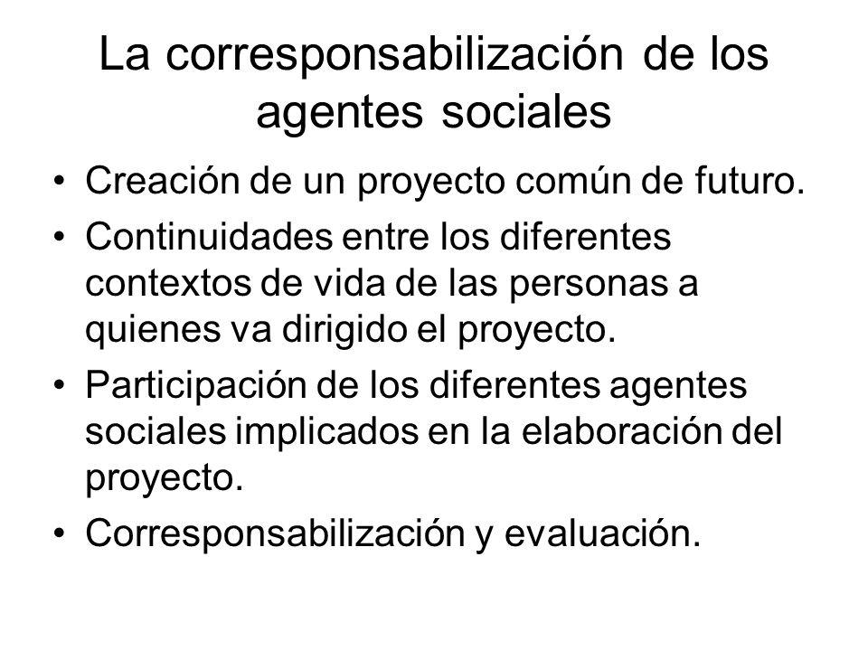 La corresponsabilización de los agentes sociales Creación de un proyecto común de futuro. Continuidades entre los diferentes contextos de vida de las