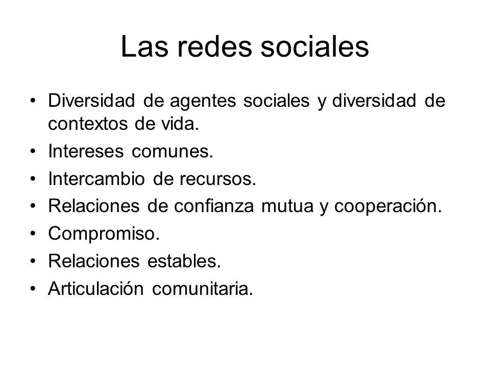 Las redes sociales Diversidad de agentes sociales y diversidad de contextos de vida. Intereses comunes. Intercambio de recursos. Relaciones de confian