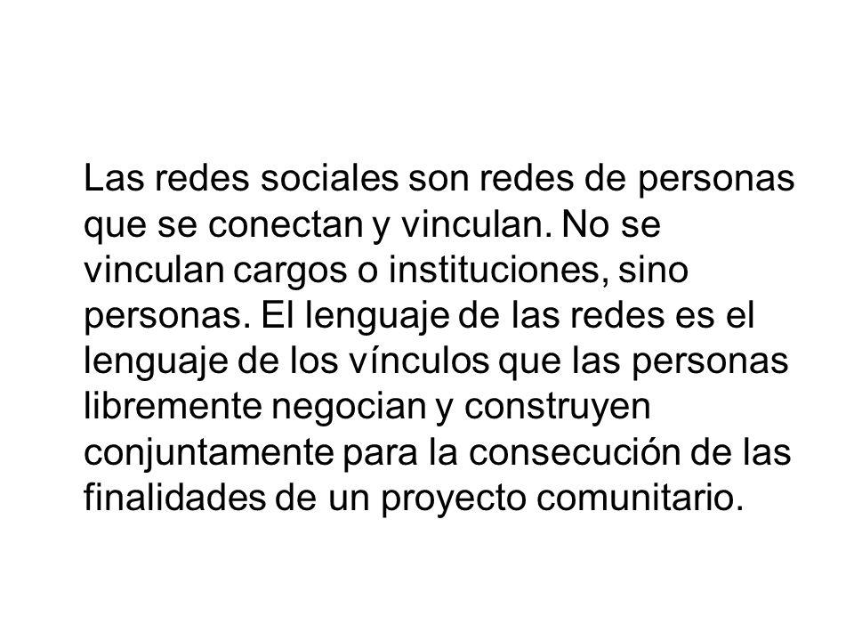 La construcción de las redes sociales Reconocimiento mutuo de los diferentes agentes sociales.